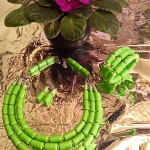 Jewelry - 3 -Piece Lime Green Bead Necklace Set